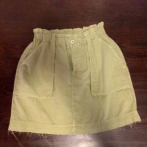 ZARA-raw edge olive green mini skirt
